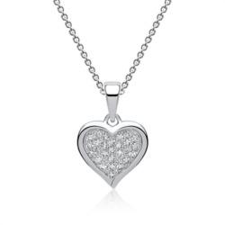 Zirkonia Kette mit Herzanhänger 925er Silber